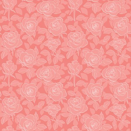 decorative red seamless pattern with roses and leaves - vector floral background Banque d'images - 146614166