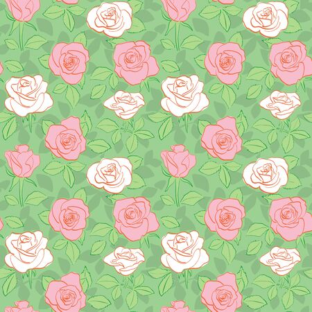 green seamless pattern - vector bright background with white and red of roses Banque d'images - 146614168