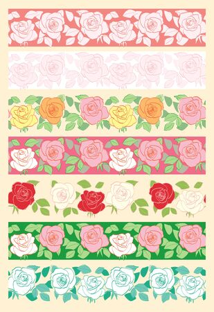 floral seamless borders with roses - vector set of decorative ornaments