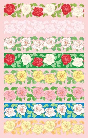 seamless borders with roses - vector set of decorative flower ornaments Illustration
