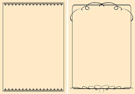 a4 beige backgrounds with vintage frames - vector