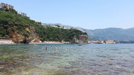 view to Mogren beach in Budva Montenegro