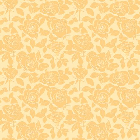 decorative orange seamless pattern with roses and leaves - vector floral background Illustration