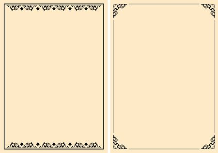 a4 beige backgrounds with ornamental frames - vector