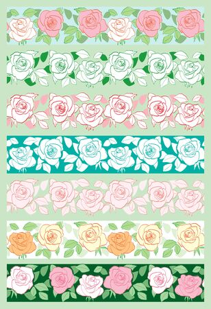 vector set of decorative flower ornaments - seamless borders with roses Banque d'images - 147183564
