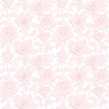 rosy seamless pattern - vector light red flower background Banque d'images - 147872651