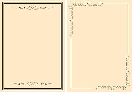 decorative frames on beige backgrounds - vector