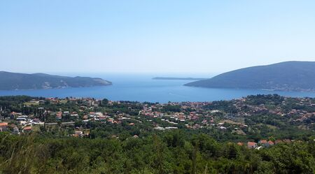 view to Bay of Kotor - green landscape and Adriatic sea
