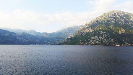 Bay of Kotor - green landscape and dark water Banque d'images - 148456002