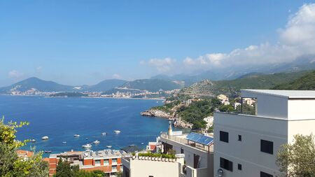 view to Budva and Becici Montenegro - resort on Adriatic sea Banque d'images - 148527934
