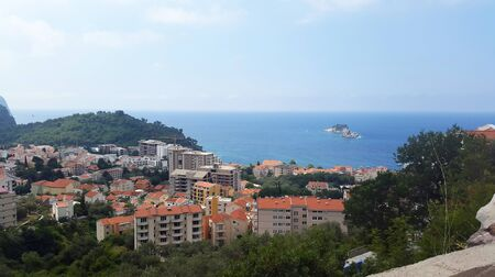 Adriatic sea and Petrovac town - Montenegro at summer 写真素材