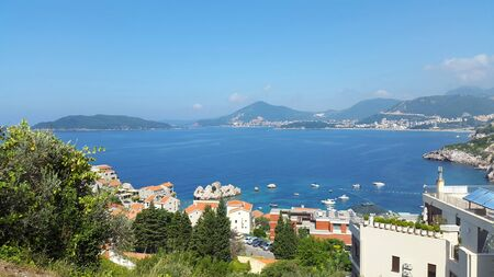 scenic view to seacoast of Budva and Becici - resort on Adriatic sea Montenegro Banque d'images