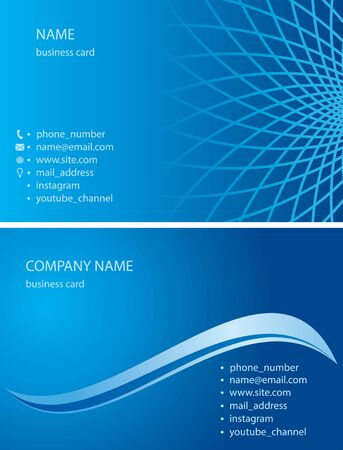 blue business cards with abstractions and gradient - vector illustration