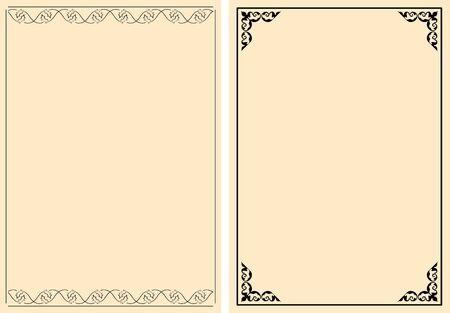 black decorative frames on a4 background Banque d'images - 149585833