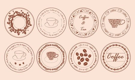 decorative post stamps with cups and coffee grains - vector set - tea and coffee