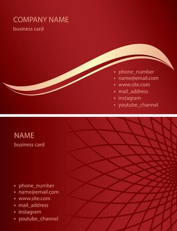 dark red business cards with abstractions and gradient - vector illustration Banque d'images - 149457097