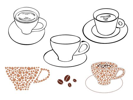 cups with coffee and tea - vector set of silhouettes
