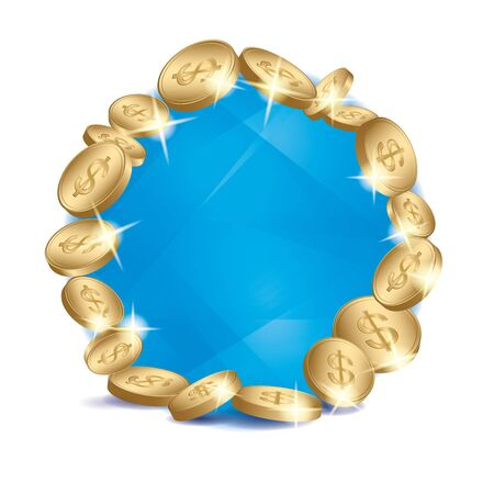 blue abstractions with gold dollar coins frame on white background - vector