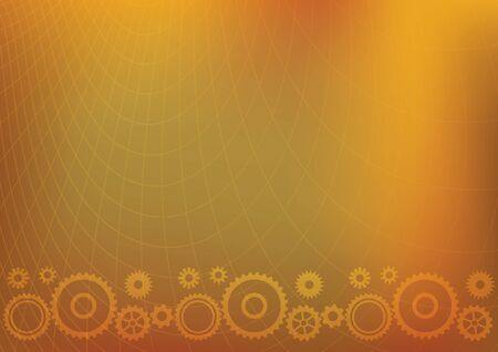 bright orange a4 background with cogwheels - vector illustration Illustration