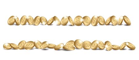 gold coins line - vector dollars