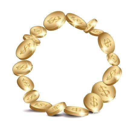 round coins frame - vector golden dollars  Illustration