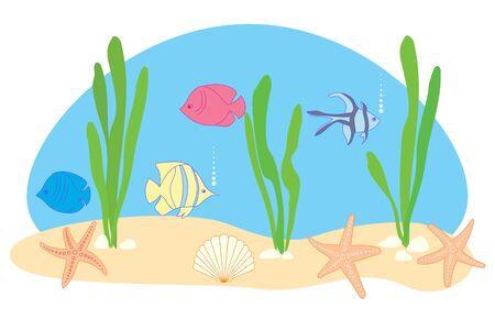 fish and sea stars - vector illustration of sea or aquarium