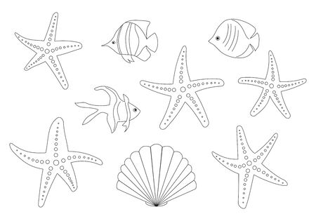 fish and sea stars - vector set of contours Illustration