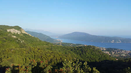 green mountains and Bay of Kotor in Montenegro