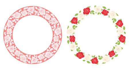 round vector frames with flowers - ornament with roses