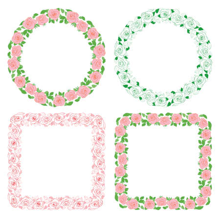 decorative roses ornament - vector frames with flowers