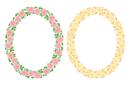 floral decorative oval frames with roses ornament - vector