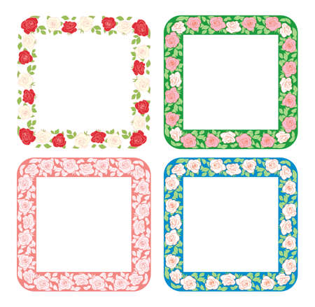 roses ornament in squares - vector frames with flowers