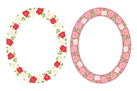 decorative roses ornament - vector oval frames with flowers Illustration