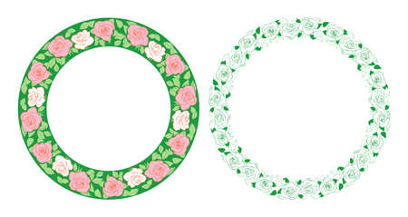 green decorative round frames with roses ornament - vector