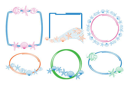 color frames with sea fauna - vector decorative starfish and fish