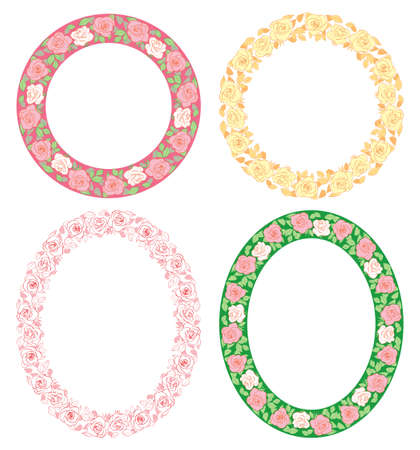 roses ornament - vector summer frames with flowers Illustration