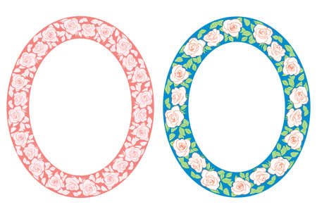 roses ornament - vector red and blue oval frames with flowers Illustration