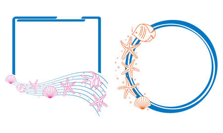 blue vector frames with decorative sea starfish and fishes and shells