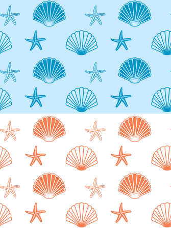 seamless patterns with seashells and starfish - vector backgrounds