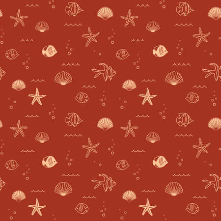 decorative brown seamless pattern with seashells and fish - vector background Banque d'images - 152003084