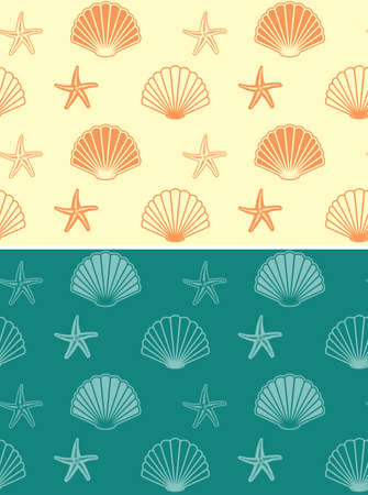 seamless patterns with seashells and starfish - yellow and green vector backgrounds Banque d'images - 152098143