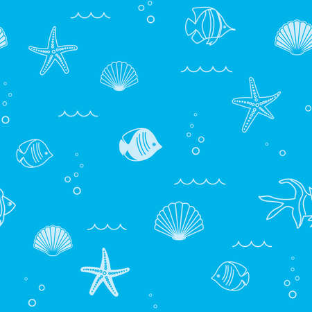 abstract light blue seamless pattern with seashells and starfish and fish - vector background