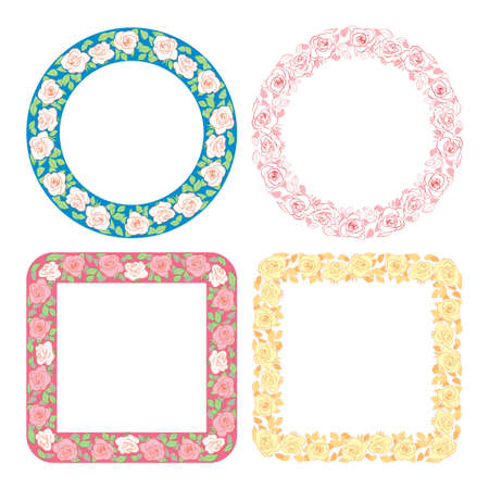 decorative vector frames with flowers - ornament with roses
