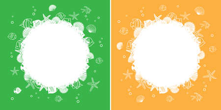 abstract backgrounds with central white frame with seashells and fish - vector sea style illustrations