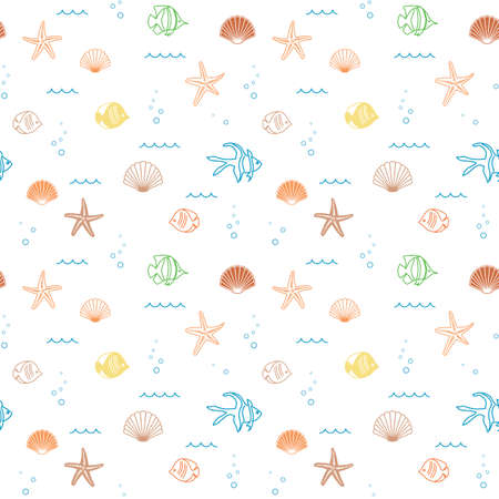 decorative colorful seamless pattern with seashells and fish - vector background Illusztráció