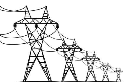 electric transmission lines - vector black silhouettes on white