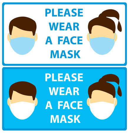 faces with mask - vector leaflets request man and woman wear mask Illustration