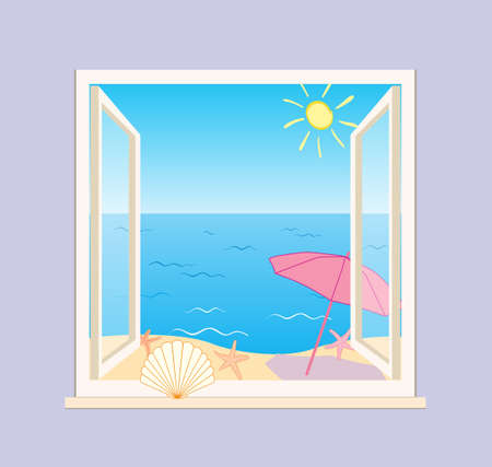 blue sea and beach behind open window - vector illustration of summer vacation