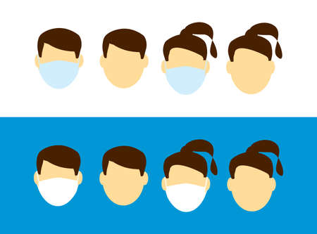 faces with and without face mask - vector silhouettes face man and woman