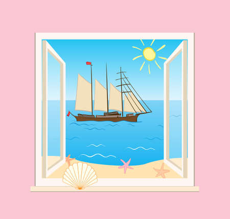 blue sea and sailing vessel behind open window - vector illustration of summer vacation